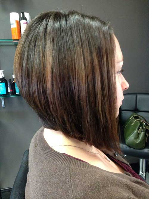 Long Inverted Dark Brown Bob Images