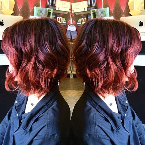 Warm Red Long Wavy Bob Hair Color