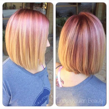 Rose Gold Bob Hair