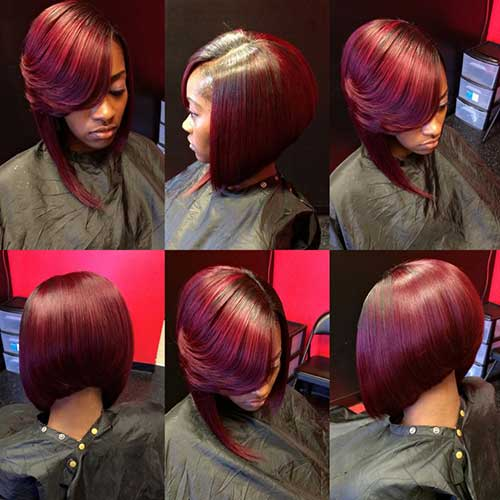 Black Woman Red Layered Bob Hairstyle
