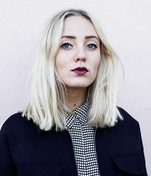Bleached Blonde Long Bob Hair