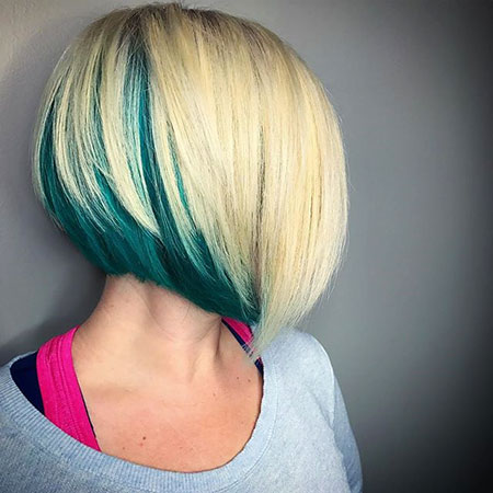 Green And Blonde Bob Hair