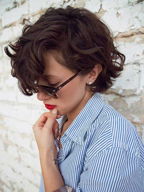 Brunette Curly Bob Cuts