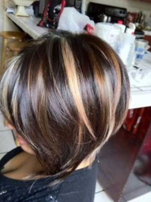 Caramel Highlight Dark Bob Hairstyles 2015