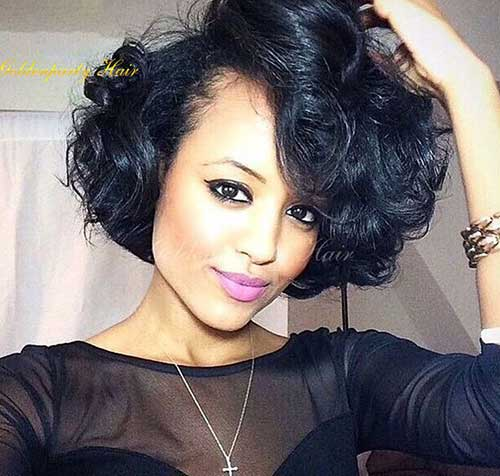 Chic Curly Bob Black Hair