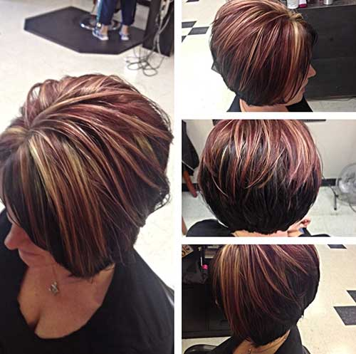 Short Dark Brown Bob with Red Highlights