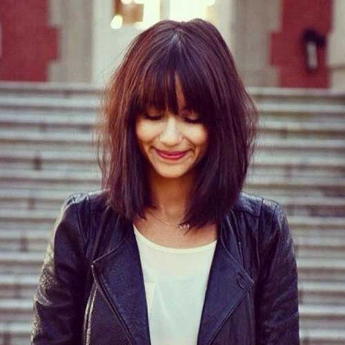 Best Dark Brown Long Bob with Bangs