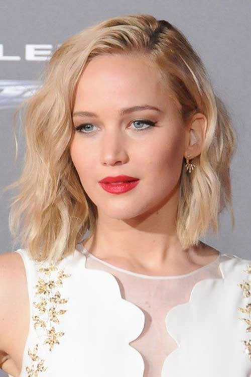 Best Jennifer Lawrence Wavy Long Bob Hairstyles
