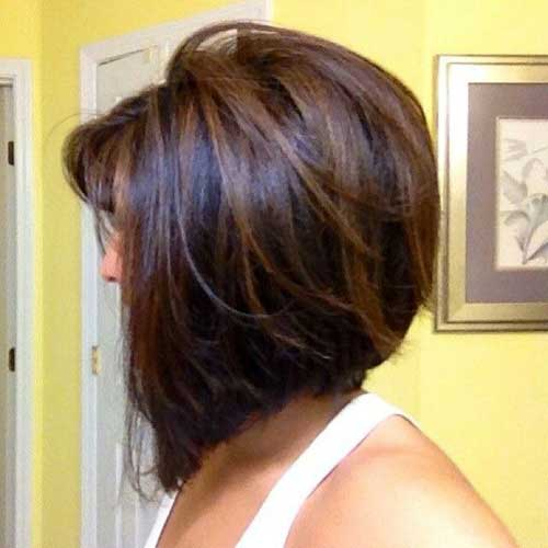 Line Inverted Dark Bob Hair