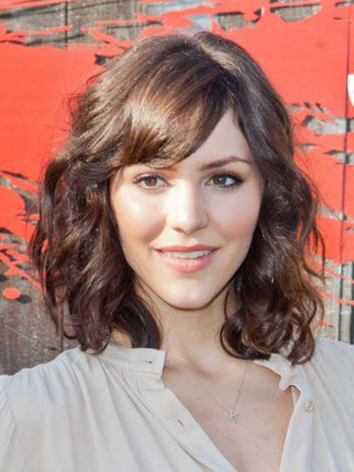Medium Length Curly Bob with Bangs