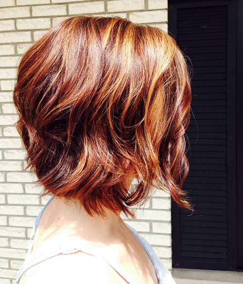 Red Ombre Short Layered Bob Hair