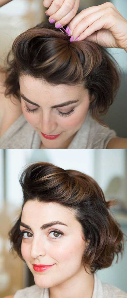 Best Short Brunette Bob Cuts with Bobby Pins