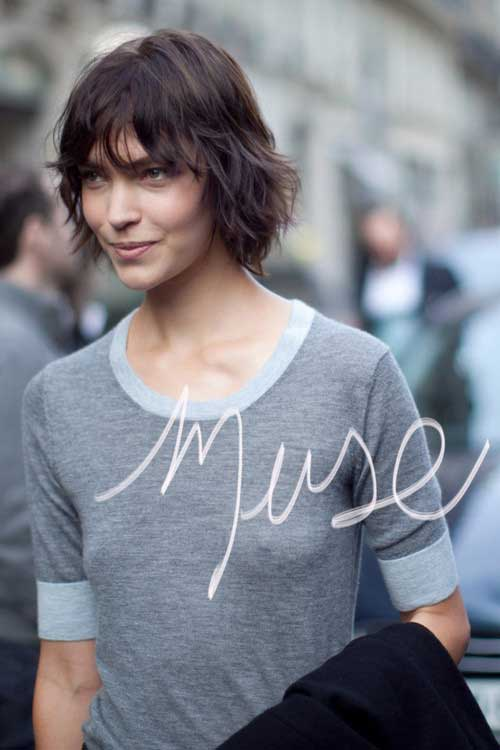 Short Shaggy Dark Bob Hairstyles 2015
