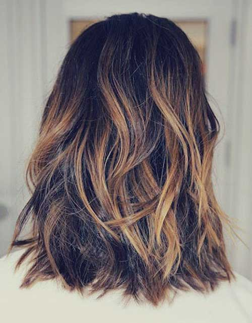 Ombre Hair Brown To Caramel To Blonde Medium Length 20+ Long Bob Om...