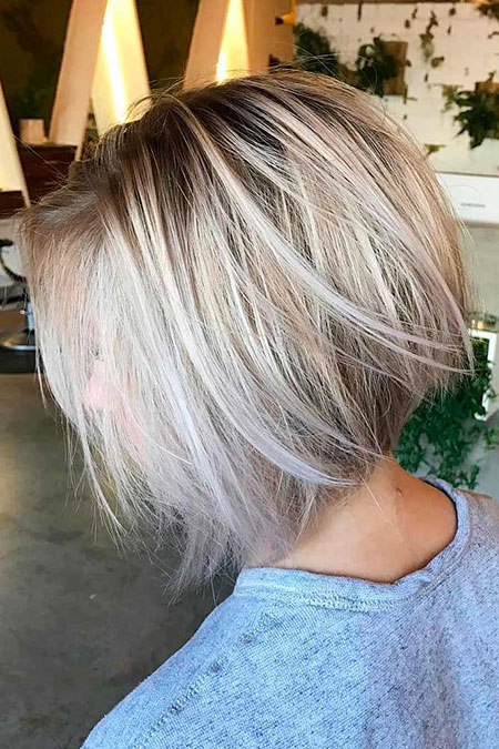 Bob Balayage Stacked Layered Blonde Women Trendy Sassy Older