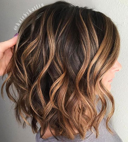 Caramel Balayage Wavy Highlights Bob Lob Brown Trend Soft Long