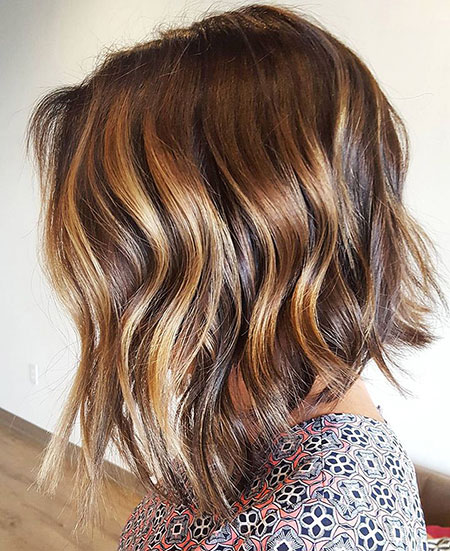 Balayage Highlights Bob Inverted Choppy Caramel Brown Bobs