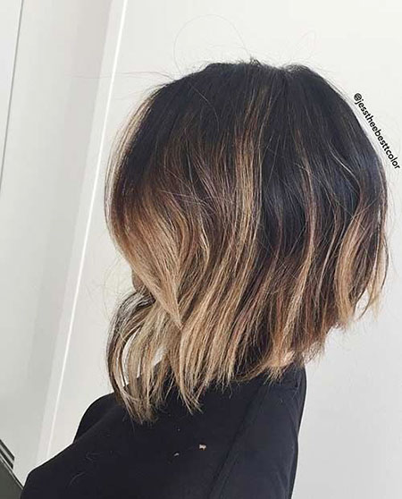 Bob Balayage Bobs Long Inverted Choppy Brown Trendy