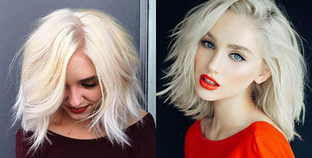 Blonde Platinum Bob Women Messy Bobs