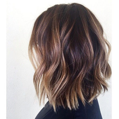 Balayage Bob Choppy Brown Wavy Subtle Slightly