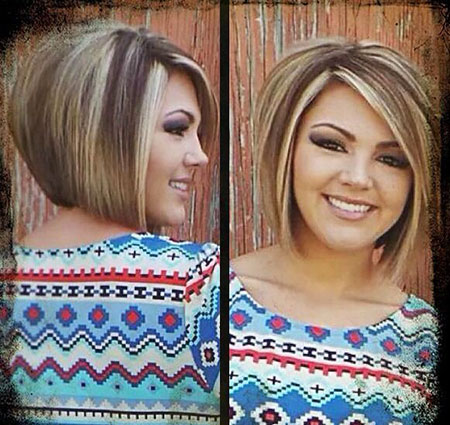 Bob Short Inverted Highlights Blonde Straight