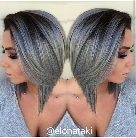Bob Gray Angled Silver Short Ombre Grey Graduated