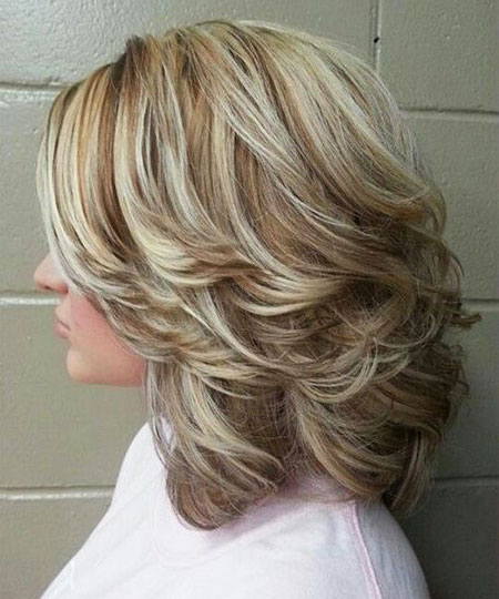 Length Blonde Thick Shoulder Layered Highlights Women