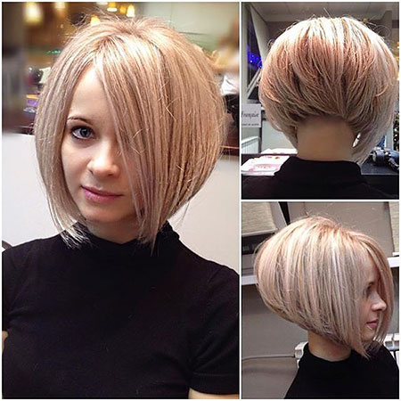 Bob Short Inverted Bobs Blonde Wavy Under Pixie