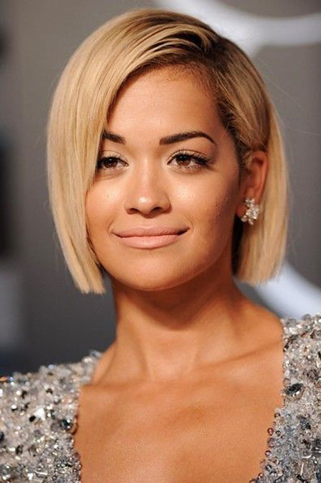 Short Bob Blonde Year Swept Sleek Side Rita Perry Ora