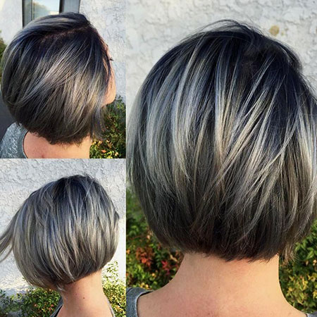 Brown Bob Layered Highlights Short Grey Balayage