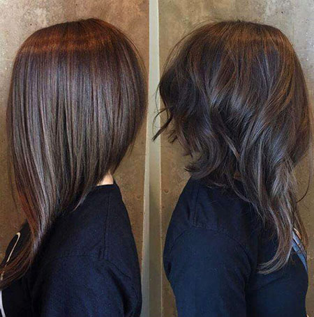 Long Bob Short Highlights Brunette Brown Balayage Back