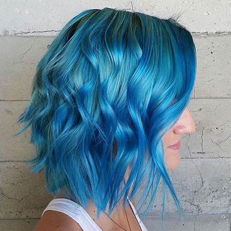 Blue Long Bob Mermaid Longer Colorful Colored Choppy Bright