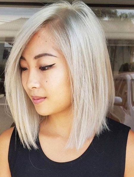 Blonde Bob Platinum Shoulder Long Length Bobs Asian