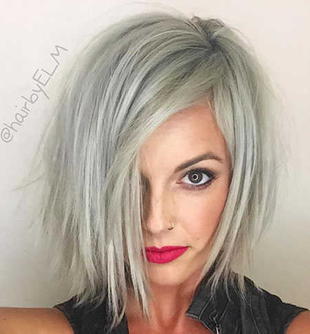Choppy Bob Blonde Thick Textured Silver Short Sexy Platinum Grey