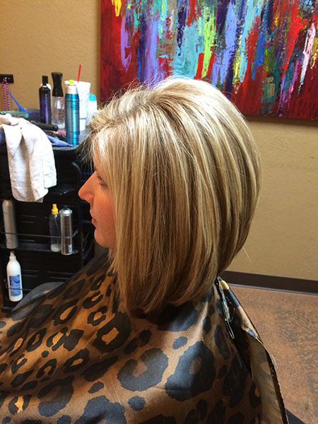 Bob Layered Up Stacked Lowlights Line Inverted Highlights Edgy Bobs