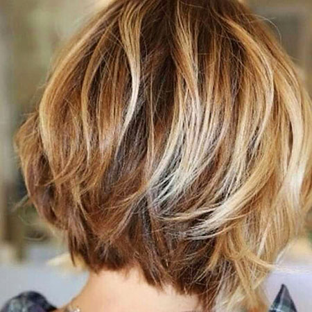 Bob Short Layered Blonde Bobs Women Stacked Honey