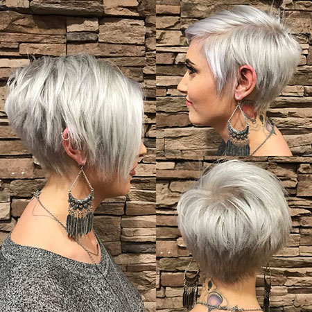 Short Pixie Long Bangs Silver