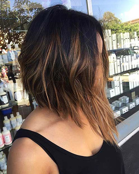 Bob Highlights Caramel Choppy Brunette Balayage