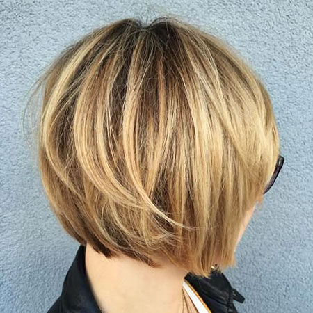 Bob Layered Balayage Short Blonde Woman Modern Lengths