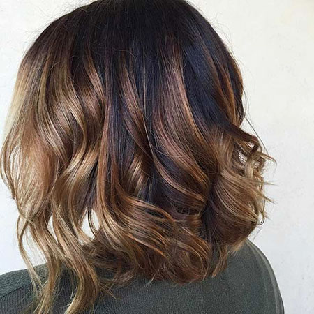 Balayage Highlights Bob Wavy Summer Short Long Lob