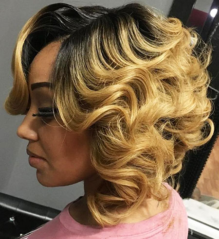 Women Wedding Curls Bob Blonde Black Updo