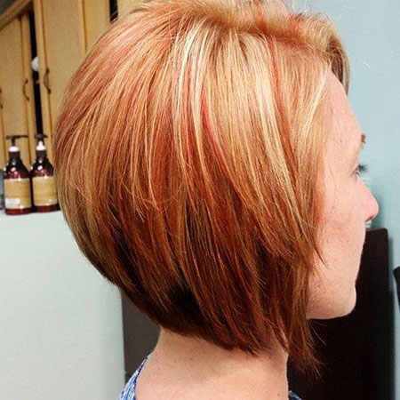Bob Stacked Red Length Highlights Chin One