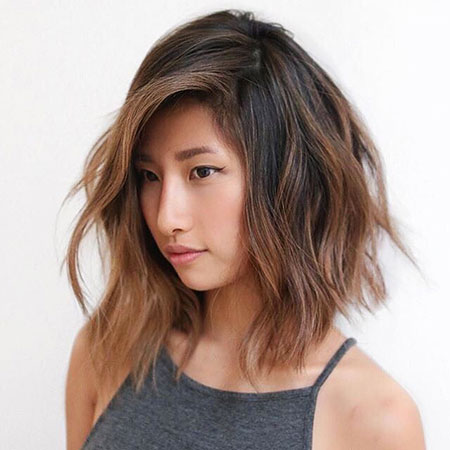 Asian Lob Highlights Colored Bob Balayage