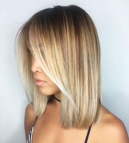 Bob Balayage Straight Blonde Long Bangs Sleek Side Lob