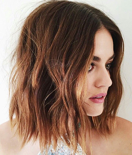 Brown Bob Lucy Hale Balayage Short Lob Highlights Choppy