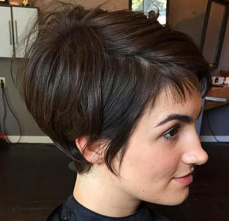 Short Pixie Bob Brunette Bangs Women Trendy Sassy Cute