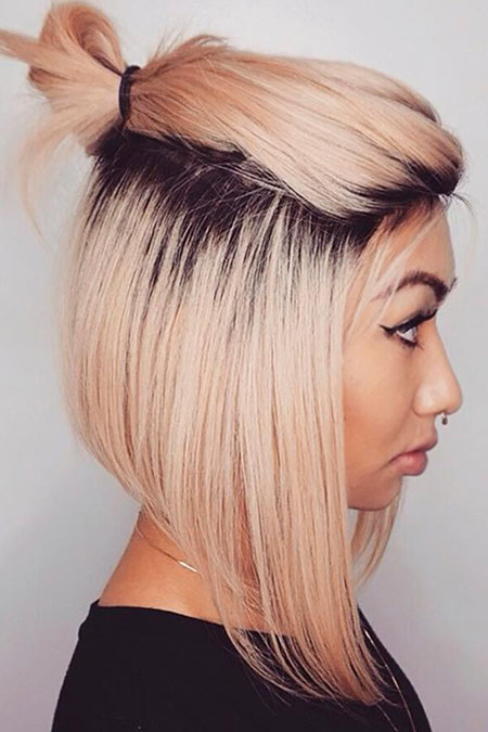 Bob Short Blonde Trendy Stacked Sassy Dark Balayage