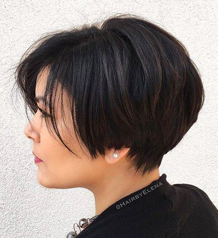 Short Bob Thick Pixie without Volume Natural Long