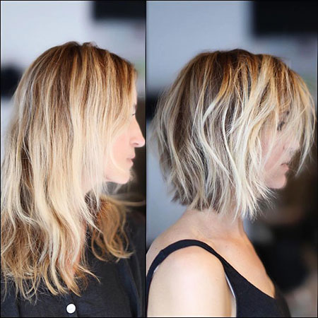 Blonde Short Balayage Yellow Up Tran Long Bob Ash