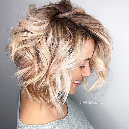 Blonde Bob Blond Balayage Wedding Wavy Short Loose Highlights Curls